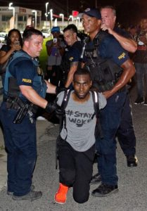 image screenshot of AP photo on Twitter of DeRay McKesson's arrest in Louisiana